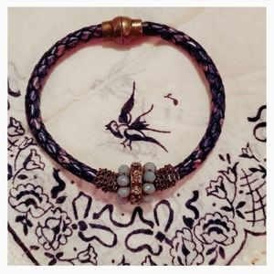 👻3/$30👻 Purple Bead Braided Leather Bracelet